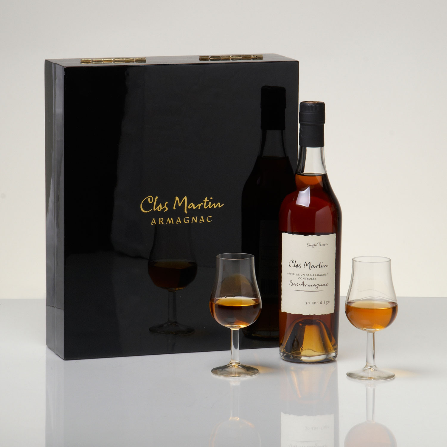 Clos Martin 30 Year Old Armagnac and Glasses in Laquered Presentation Gift Box