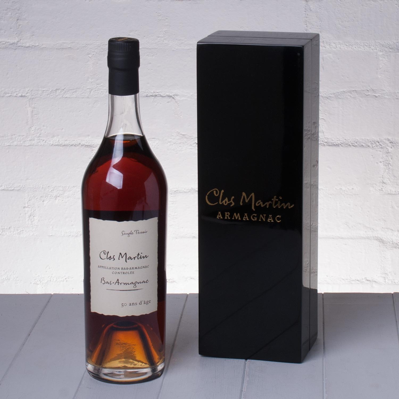 Clos Martin 50 Year Old Armagnac Brandy in Laquered Presentation Gift Box