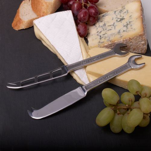 Spanner Hard & Soft Cheese Knife Set  Gift Boxed Set of Two