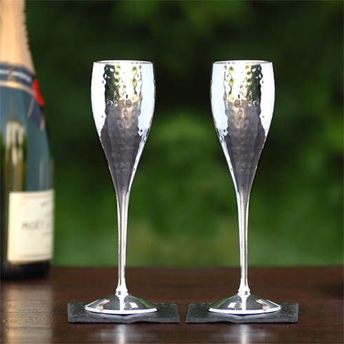 Hammered Silver Champagne Goblets by Culinary Concepts  PreOrder  Due Mid October